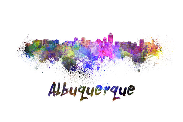 Albuquerque skyline - watercolor painting