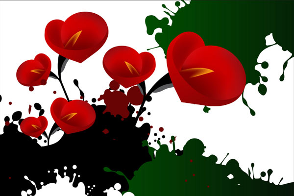 Arts picture - red flowers illustration