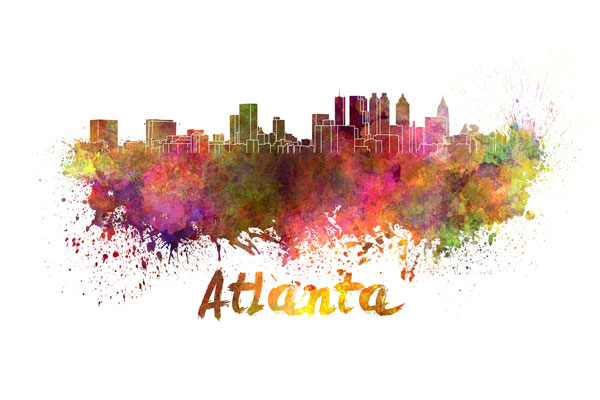 Atlanta skyline - watercolor painting