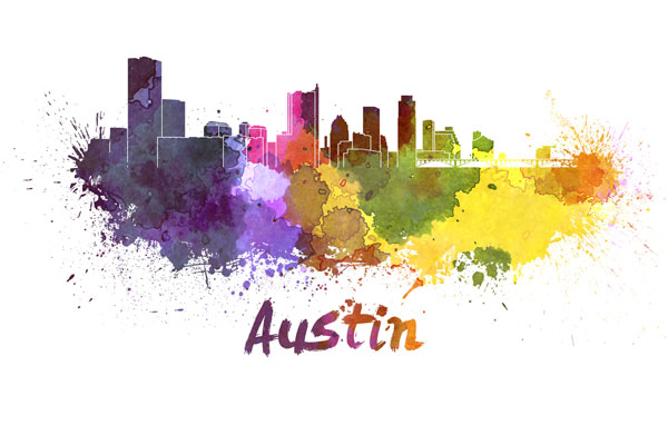 Austin skyline - watercolor painting