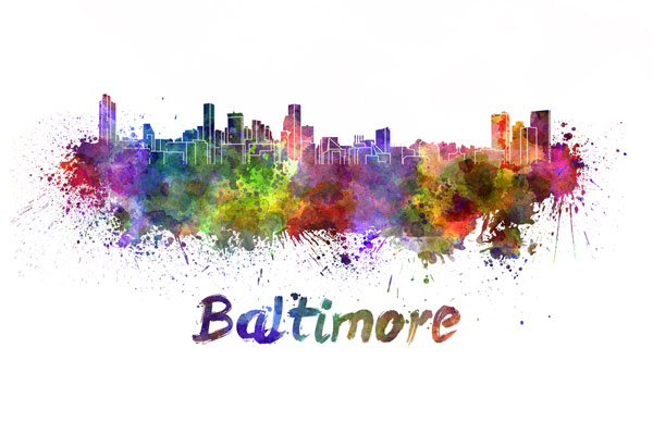 Baltimore skyline - watercolor painting