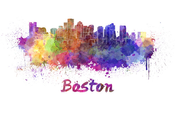 Boston skyline - watercolor painting