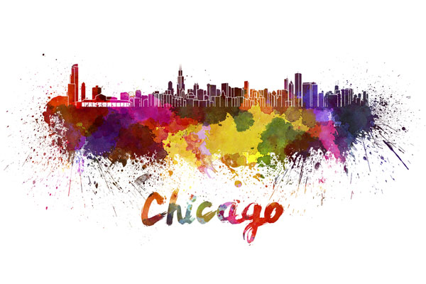 Chicago skyline - watercolor painting