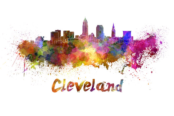 Cleveland skyline - watercolor painting