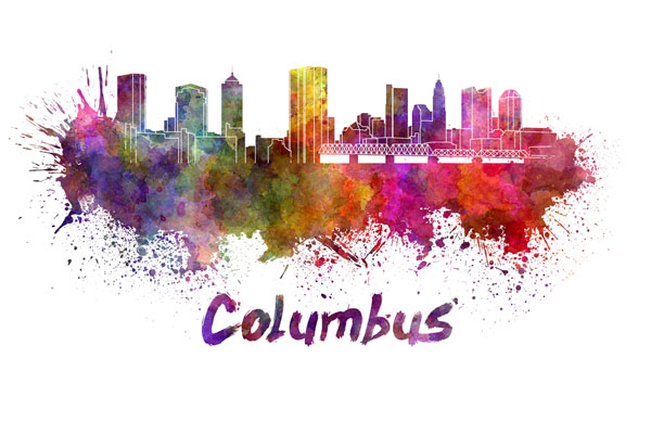 Columbus skyline - watercolor painting