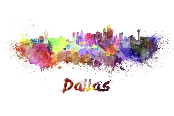 Dallas skyline - watercolor painting