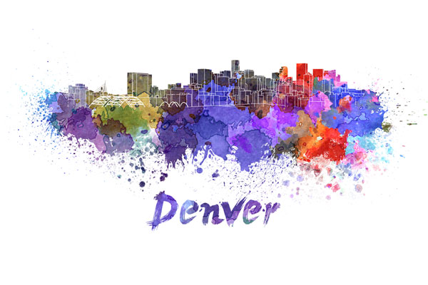 Denver skyline - watercolor painting