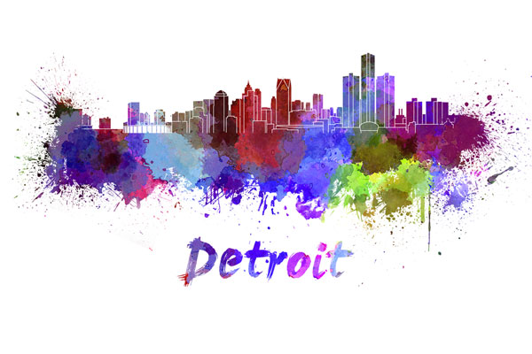 Detroit skyline - watercolor painting