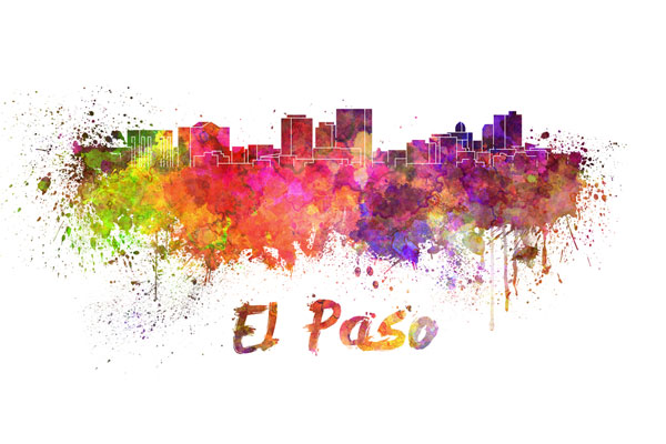 El Paso skyline - watercolor painting