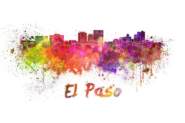El Paso skyline - watercolor painting