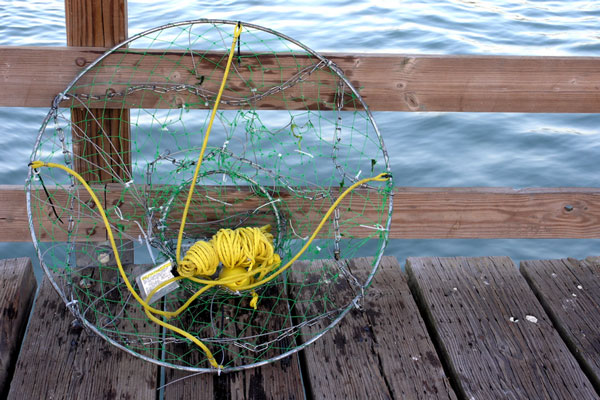 fishing net, rope, and float