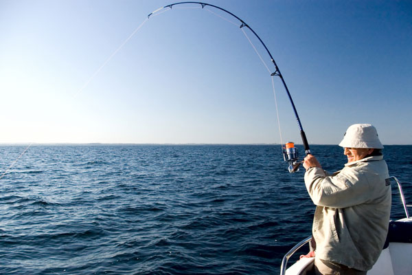 ocean fishing from a charter fishing boat