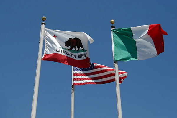 American flag, California flag, and Italian flag
