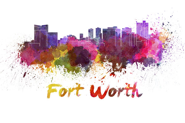 Fort Worth skyline - watercolor painting