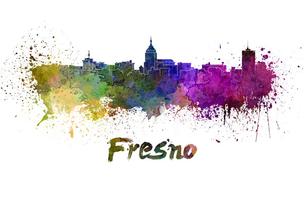 Fresno skyline - watercolor painting