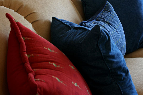 soft furnishings - sofa and colorful pillows