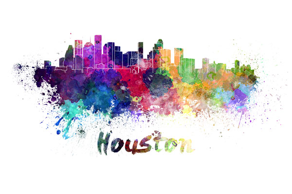 Houston skyline - watercolor painting