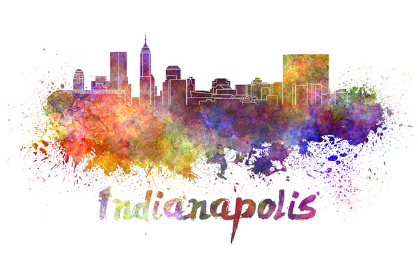 Indianapolis skyline - watercolor painting