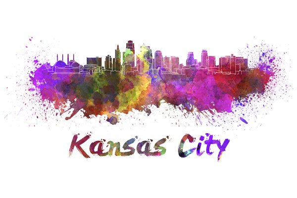 Kansas City skyline - watercolor painting