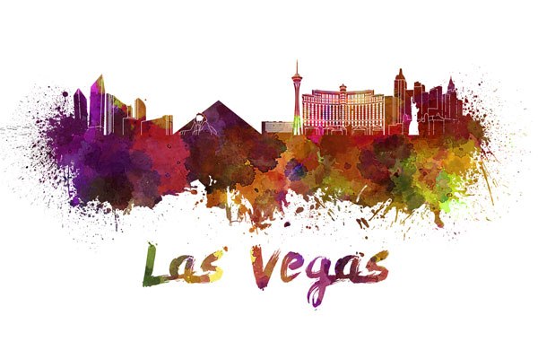 Las Vegas skyline - watercolor painting