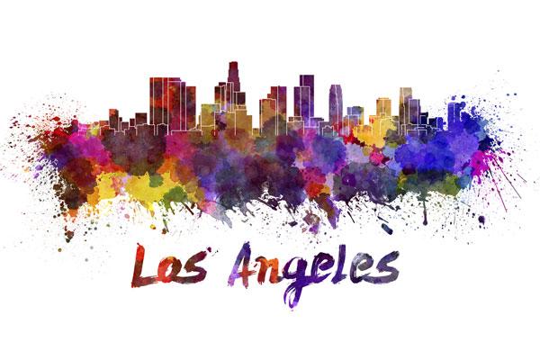 Los Angeles skyline - watercolor painting