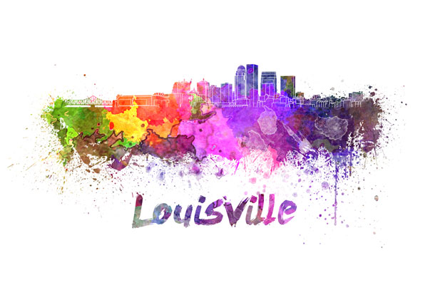 Louisville skyline - watercolor painting