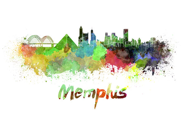 Memphis skyline - watercolor painting