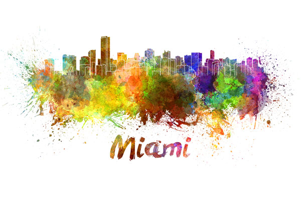 Miami skyline - watercolor painting