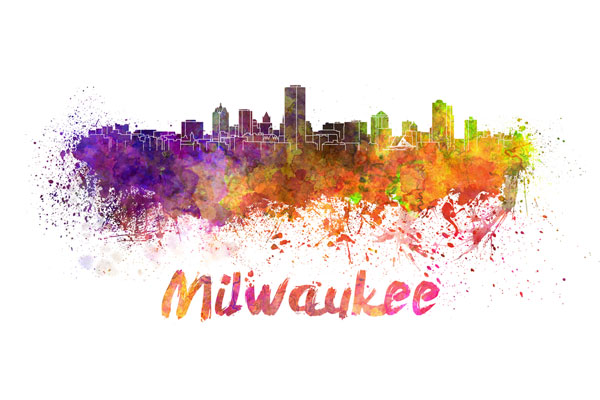 Milwaukee skyline - watercolor painting