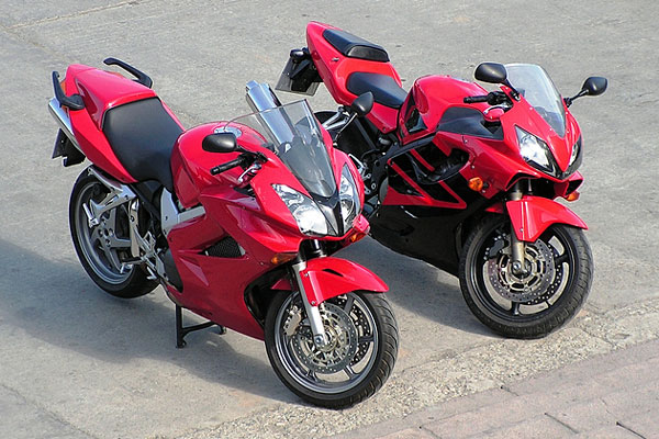 two red motorcycles