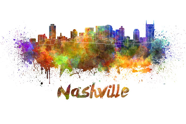 Nashville skyline - watercolor painting