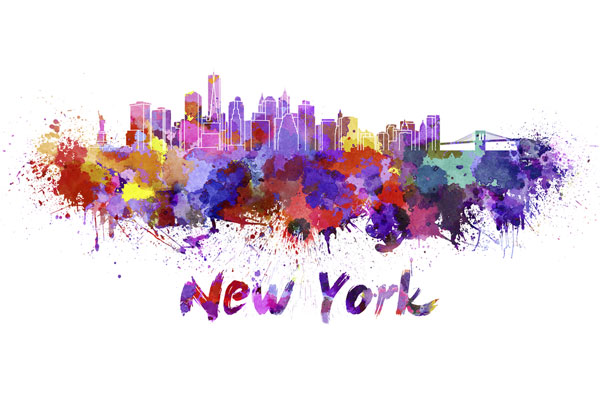 New York City skyline - watercolor painting
