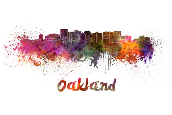 Oakland skyline - watercolor painting