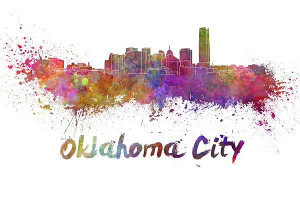 Oklahoma City skyline - watercolor painting