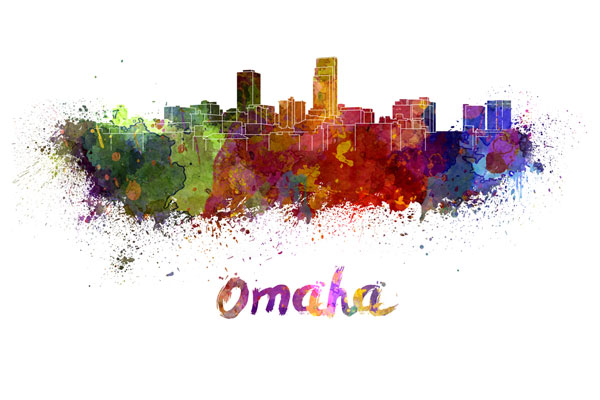 Omaha skyline - watercolor painting