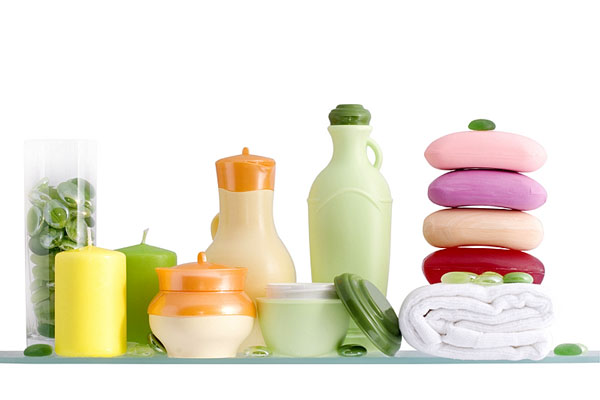 personal care products on a bathroom shelf