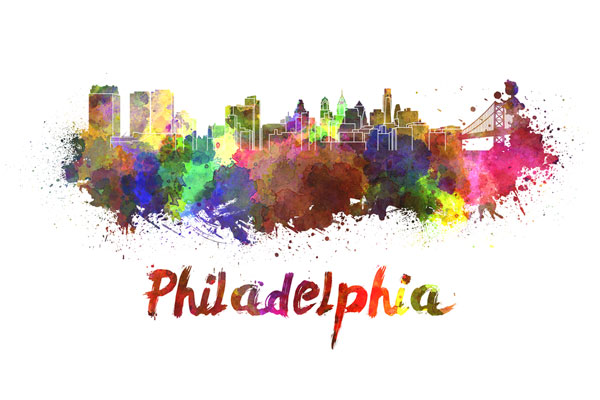 Philadelphia skyline - watercolor painting