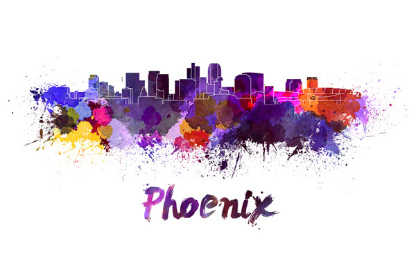 Phoenix skyline - watercolor painting