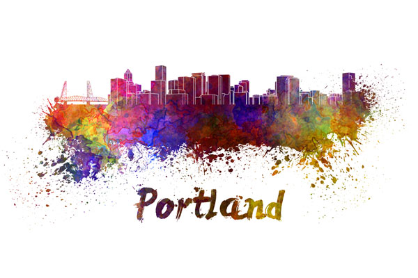 Portland skyline - watercolor painting