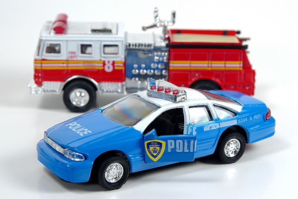 fire truck and police car