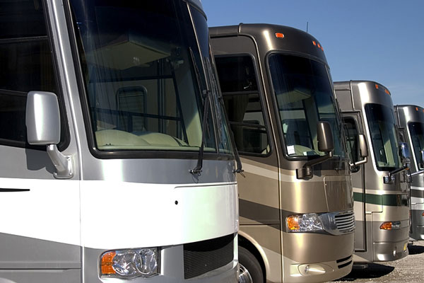 rvs in a recreational vehicle dealer lot