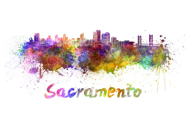 Sacramento skyline - watercolor painting