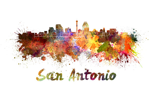 San Antonio skyline - watercolor painting