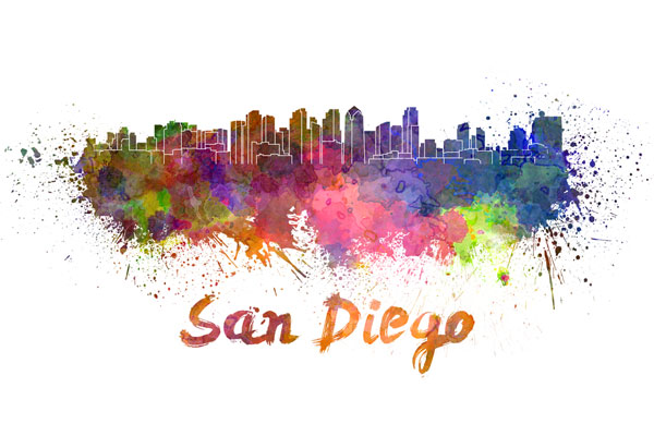 San Diego skyline - watercolor painting