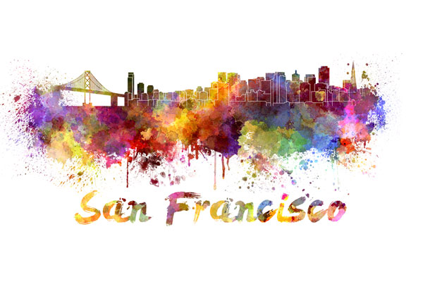 San Francisco skyline - watercolor painting