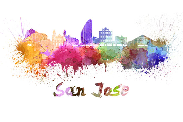 San Jose skyline - watercolor painting