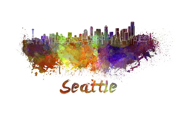 Seattle skyline - watercolor painting