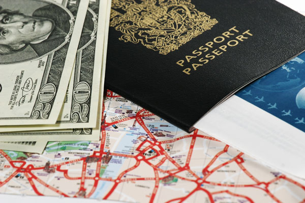 Travel picture - passport, map, and airline tickets