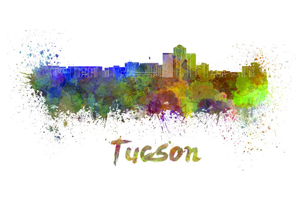 Tucson skyline - watercolor painting