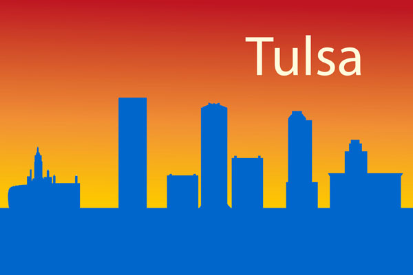 Tulsa skyline - gradient